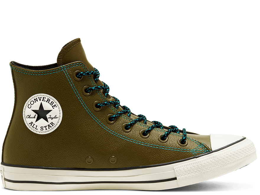 All Star Tumbled Leather Green High Top
