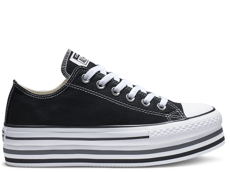 All Star Black Platform Low Top