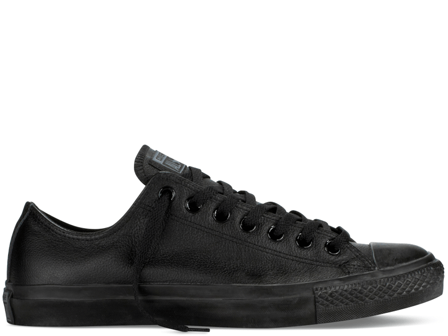 All Star Black Mono Leather Low
