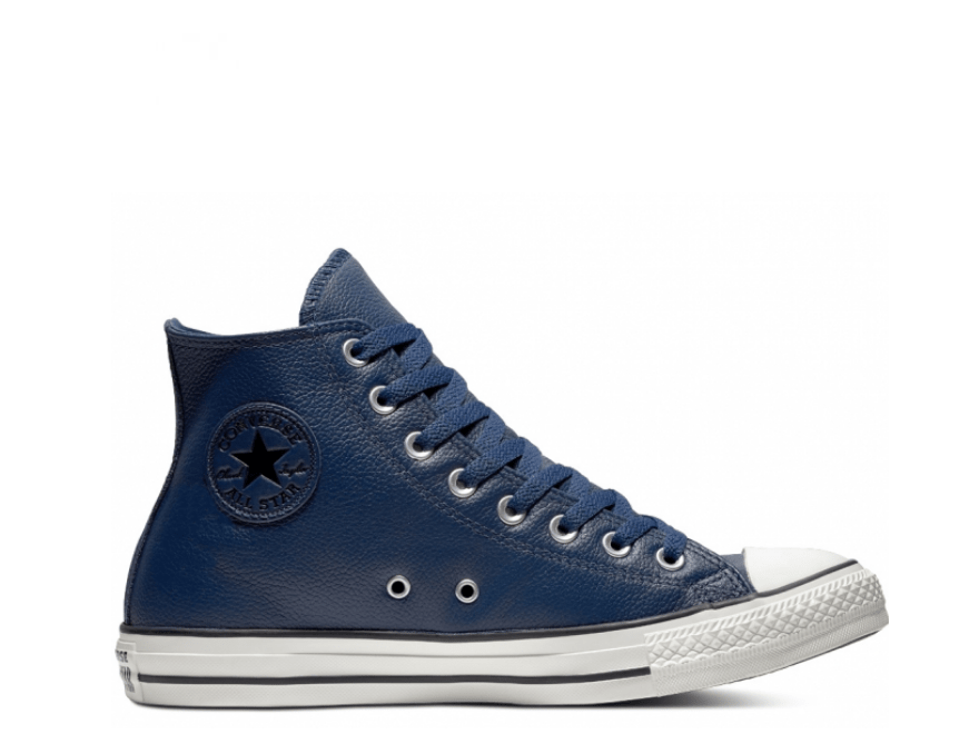 All Star Navy Leather High