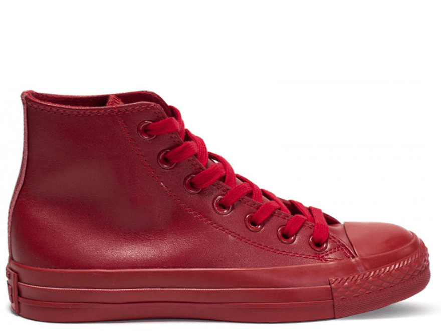 All Star Red Monochrome Leather High