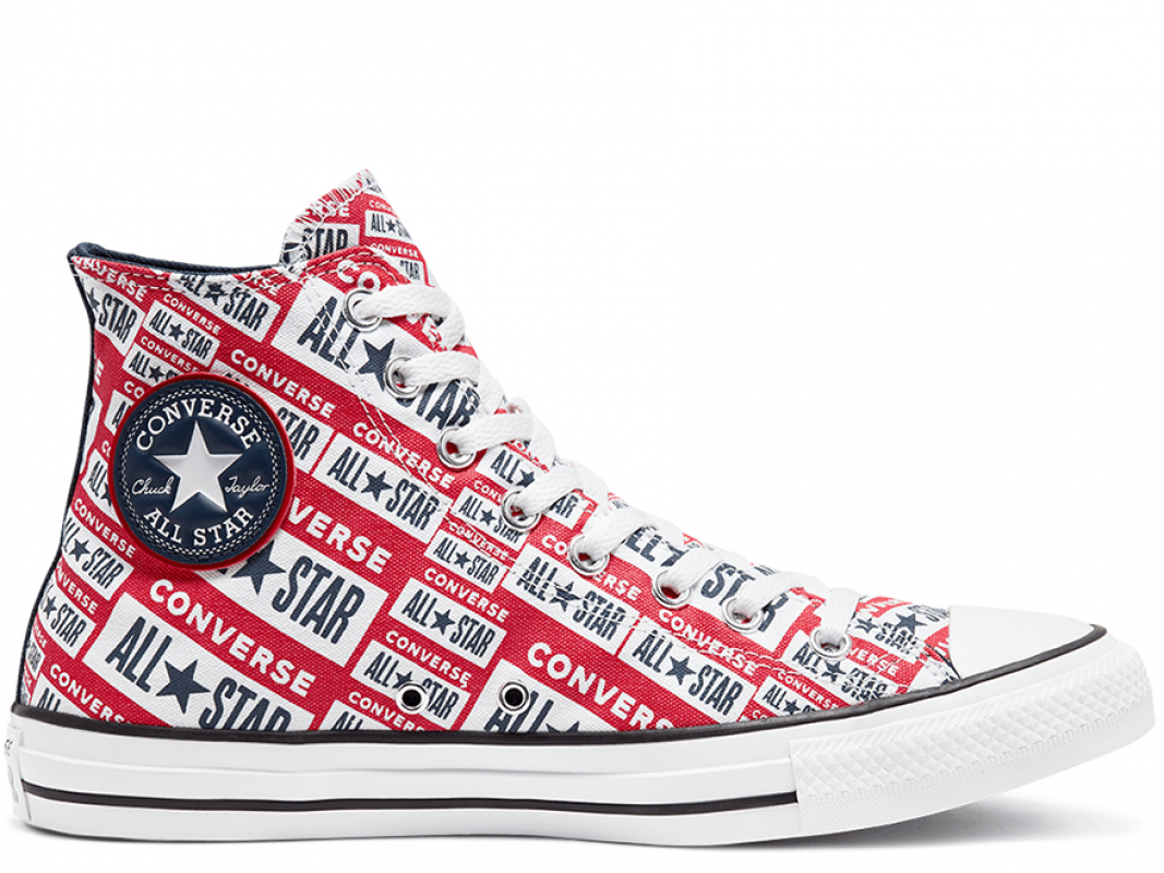 Unisex Logo Play Chuck Taylor All Star Red High Top