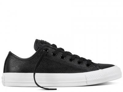 All Star Pebbled Leather Black Low
