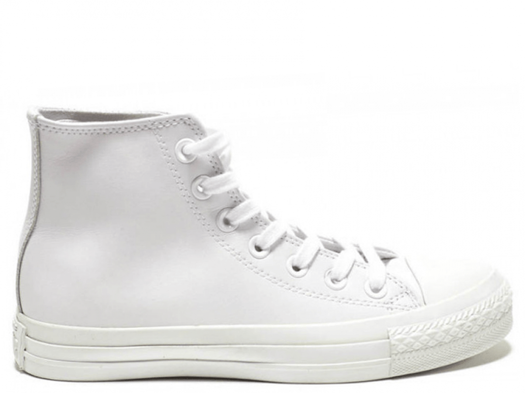 All Star White Monochrome Leather High