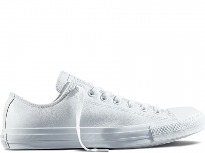 All Star White Mono Leather Low