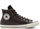 All Star Tumbled Leather Brown High Top