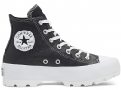 All Star Lugged Leather Black Hi Top