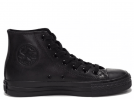 All Star Black Monochrome Leather High